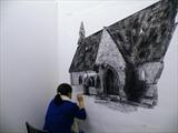 At work in studio by Michelle Graham, Drawing, Pen on Paper