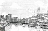The Danielle & Trident at the Docks by Michelle Graham, Illustration, Pen and Ink